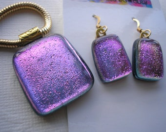 Dichroic Glass Jewelry Set Ultra Violet Matching Pendant and Earrings 14K Gold Filled Earwires Fused Glass Purple Jewelry Dichronic Glass