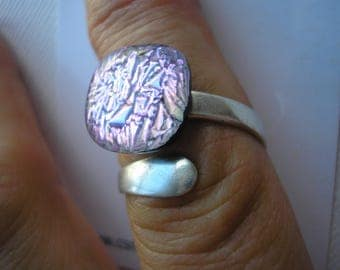 Purple Sparkle Ring Adjustable .925 Sterling Silver Wrap Ring Fused Dichroic Glass Jewelry Iridescent Lilac Purple Jewelry Home Crafted