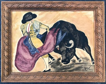 Vintage 60s 70s Matador Bull Bullfighter Watercolor Painting Retro Art Modern Wall Hanging Sixties Seventies