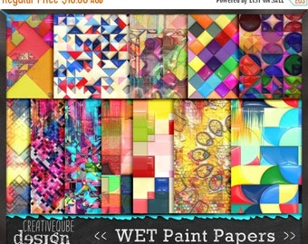 80% Off SALE Digital Paper Pack Wet Paint 3D effects in gloss. Bright, bold colors. Personal and small commercial Use.