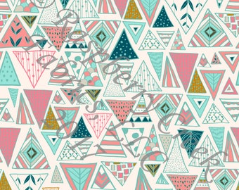 Salmon Mint Teal Mustard and Ivory Geometric Triangles 4 Way Stretch FRENCH TERRY Knit Fabric, Moody by Kimberly Henrie for Club Fabrics