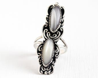 Vintage Sterling Silver Mother of Pearl Ring - Size 7 Retro 1960s Southwestern White Gemstone Long Navette Statement Jewelry
