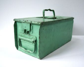 Vintage Industrial Painted Metal Tool Box / Storage Organization / Heavy Steel Divided Tool Box / Multiple Handles and Unique Closure / Mint