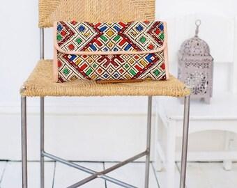 KAFTAN SUMMER 10% SALE Chirstmas Gift Ideas, Moroccan Multi Colour Kilim Hand Clutch with Shoulder Straps Berber style -bag, tote, handbag,