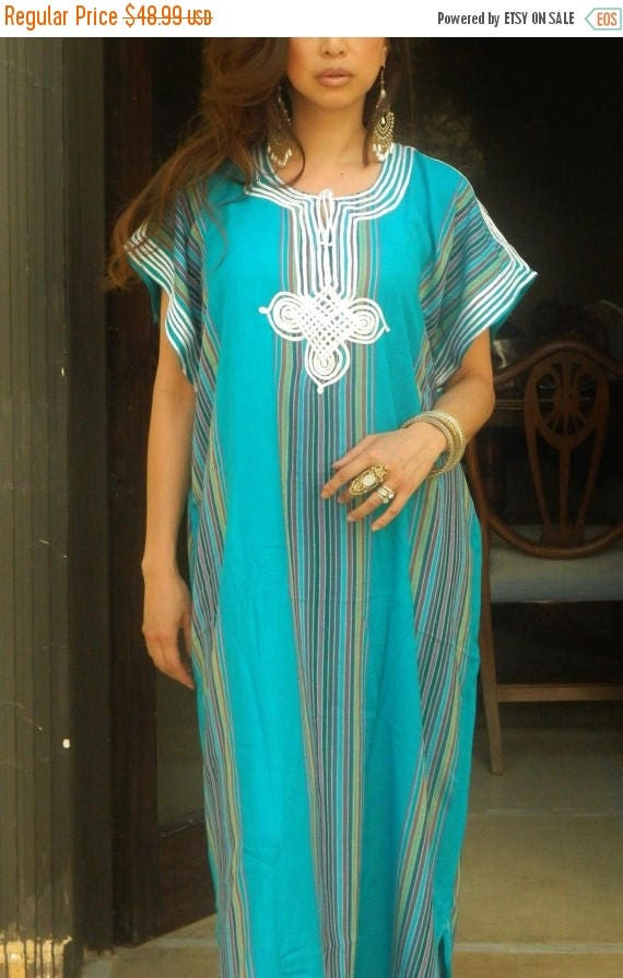 25% OFF Autumn Sale// Blue Turquoise Kaftan Resort Caftan Bedoin Style-Turquoise- loungewear,beachwear, Mother's gift for moms ,and to be mo