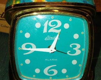 Working Old 1960's Blue Flowers Linden Wind-up No 537  Travel Alarm Clock in Original Box w Instructions Mod Flower Power era