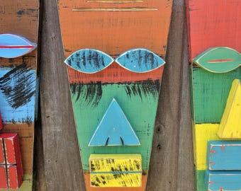GYPSY, Colorful Tiki Man, Tiki Mask, Primitive, Hand Made Wood Sculpture
