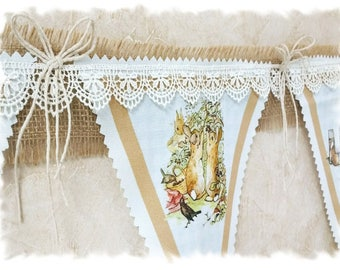 NEW - DELUXE Peter Rabbit Story Bunting - Linen Canvas - Nursery Bunting - Burlap Ribbon & Lace - Pink, Blue, Moss or Lavender Color Scheme