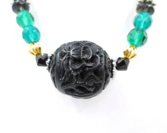 Vintage Black Cinnabar Necklace - Vintage Sterling Green & Black Crystal Cinnabar Necklace - Re-purposed Black Cinnabar Crystal Necklace