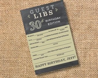 Birthday Mad Libs Custom Chalkboard Masculine Gender Neutral Personalized 30th Birthday 40th Bday 50th Party 60th 70th 80th 90th Adult Man's