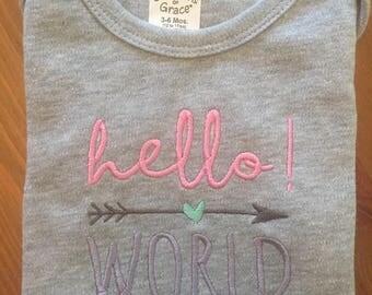 Hello World Embroidered Onesie
