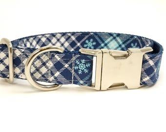 Handmade Dog Collar - Snowflake Plaid in Navy - Winter Dog Collar - snow flake accents - Blue Christmas Plaid Dog Collar with Teal Snowflake