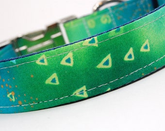 Handmade Dog Collar - Green Teal Geometry - Neon Green Blue Dog Collar Custom Made - With Green triangles and gold accents - 80s collar