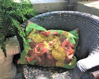 Vintage Barkcloth Pillow Feather Cabbage Rose Green Antique