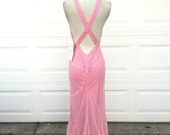 25% OFF SALE Vintage nos 1980s 1990s pink sequins beaded halter cross back pageant formal gown dress size S M