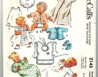 1950s Baby Layette with Transfer Infants Dress Slip Sacque Cap Bib McCall's 2143 Vintage Baby Layette Pattern Vintage Infant Pattern