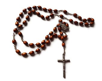 Vintage Italian Wooden Rosary- 1960 Lourdes Catholic Rosary Beads- Made in France