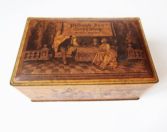 PickWick Inn Candy Tin Collectible Container Box/ Greenwich Connecticut Canco Antique