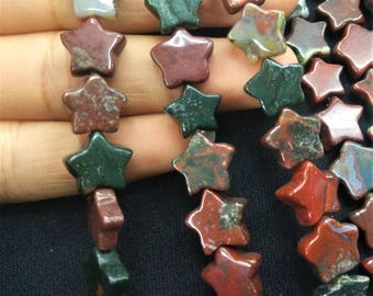 20pcs/lot - Natural Green Red Indian Agate Stone Star Beads 10mm -central drilled