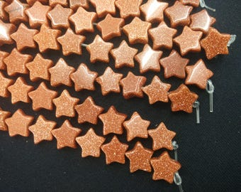 20pcs/lot - Synthetic Gold Sand Stone Star Beads 10mm -central drilled