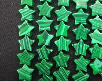 20pcs/lot - Synthetic Green Malachite Stone Star Beads 10mm -central drilled