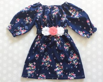 Navy Floral Girl's Spring Dress -  3-4 Sleeve - Easter Dress - Baby Girl Dress - Girls Dresses - Spring Dresses - Baby Girl Dresses