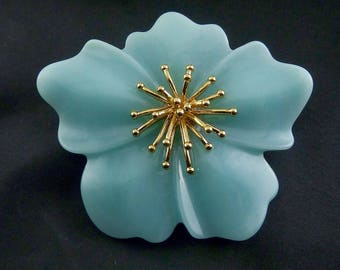 Lucite Acrylic Aqua Flower Brooch Pin with Golden Stamens