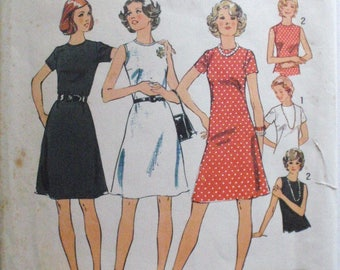 Simplicity 6080 - Jiffy A-Line Dress - 1970's Vintage Sewing Pattern - Size 14, Bust 36