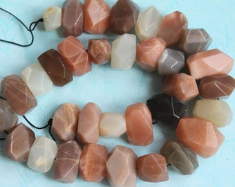 Mixed Peach Grey White Creamy Moonstone Sunstone Faceted Nugget Beads