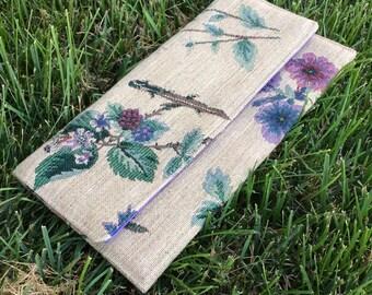 Purple Flower Jute Envelope Clutch