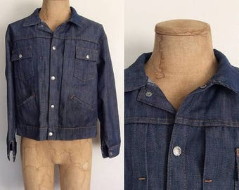 30% OFF 1970's Dark Wash Denim Jacket by Montgomery Ward Levi Vintage Jacket Size XL by Maebeery Vintage