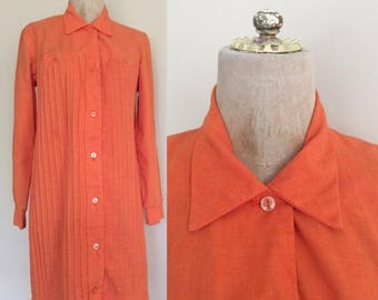 30% OFF 1970's Orange Cotton Shift Dress Pintucked Vintage Dress Size Small Medium by Maeberry Vintage