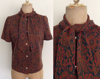 1960's Wool Paisley Print Ascot Bow Top Vintage Button Up Shirt Size Medium Large by Maeberry Vintage
