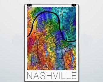 Nashville - Tennessee - Map - Commodores  - Print - Poster - Street Map - Vanderbilt University - Watercolor