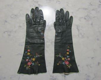 "Vintage 1950's Point de Beauvais Black French Kid Leather 11"" Gloves---Size 6--Auction #5187-0118"