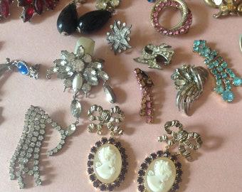 Vintage 70 Pc Lot COSTUME RHINESTONE JEWELRY 40's thru 80's YsL Dior