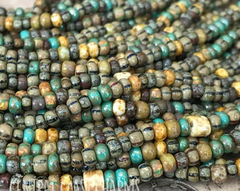 """Indian Summer - Aged Striped 6/0 Czech Glass Rocaille Seed Beads - 20"""" strand - 4mm - Bohemian Mix Opaque Picasso - Central Coast Charms"""