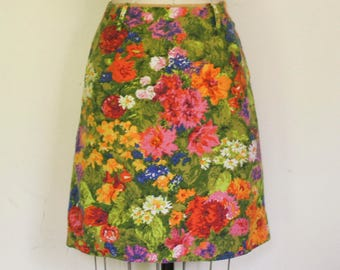 Floral Mini Skirt, Hand Tailored