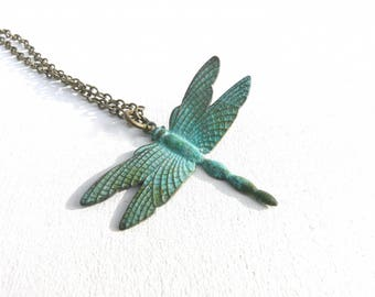 Green Dragonfly necklace with gray (blue green patina)