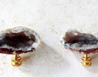 Pair XX Quality Natural Crystal Geode Lamp Finial Brass Base