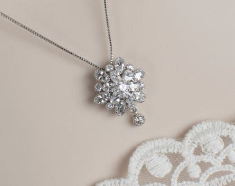 Bridal Necklace, Cubic Zirconia Bridal Necklace, Cubic Zirconia Flower Necklace, Bridal Cubic Zirconia Necklace, CZ Floral Bridal Jewelry