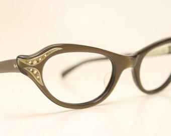 Unused Brown Rhinestone Vintage Cat eye glasses cat eye frames NOS