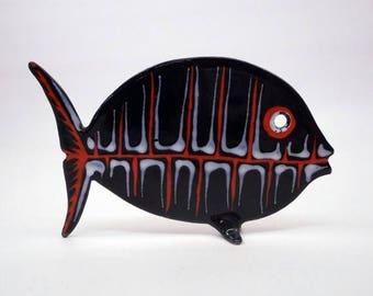 SUMMER SALE Midcentury Enamel Fish Sculpture