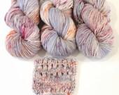 Hand dyed yarn handspun yarn Flower Trail Laurel worsted 100% Merino, softly speckled