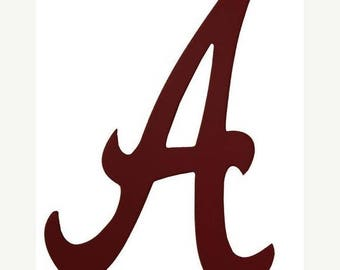 "SUPPLY SALE Crimson Red ""A"", Alabama Wooden Decor Ab207030, Football Decor, Sports Wreath Decorations"
