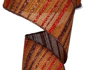SUPPLY SALE 2.5 Inch Brown Copper Brown Burlap Glitter Strip Ribbon RX3874Ky, Deco Mesh Supplies