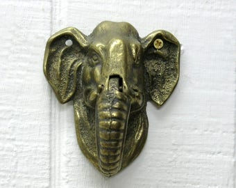 Vintage Brass Elephant Door Knocker Made In England
