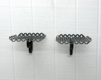 Vintage Punched Metal Shelf Black Wall Hanging Lot Of 2