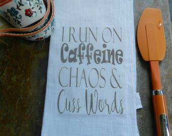 Funny Tea  Towel Caffeine Chaos   Flour Sack Towel Funny Kitchen Decor