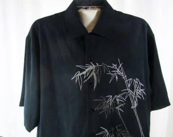 Men's Camp Shirt by Brigata Black Silk Bamboo Embroidered Design Medium